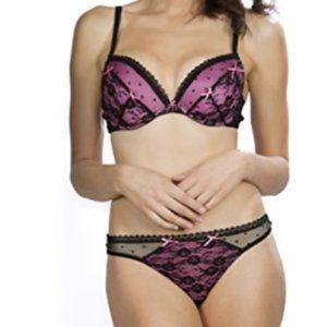 Pink Blush Lingerie Lace Bra, Thong Panties Set